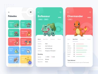 Pokedex App simple minimal clean android pokedex pokemon ux design iphone ios app ui