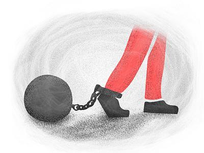 Bureaucracy leg milestone chained bureaucracy illustration