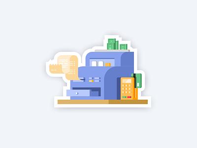 Сashbox money web icons illustration cashbox