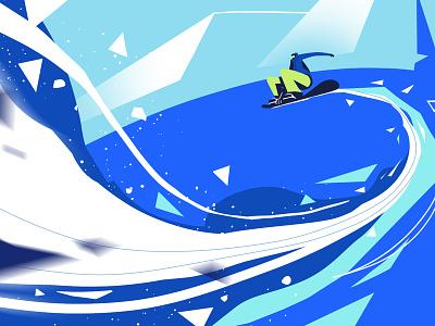 "Say ""bye""! slope snow sport animation illustrator art vector winter snowboard background design illustration"