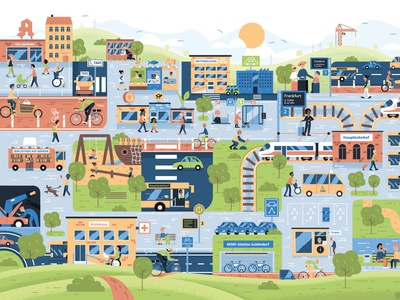 City Busy Picture: Socially fair mobility turnaround mobility town city flat design illustration vector vector illustration wimmelbild busy picture
