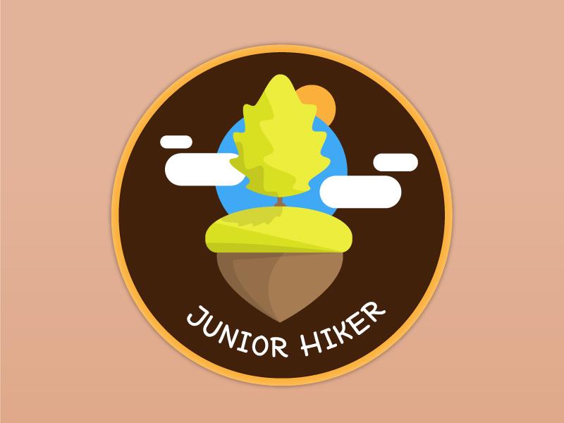 Junior Hiker Patch Design outdoor nature oak vector patch patchgame hiking hiker vector illustration