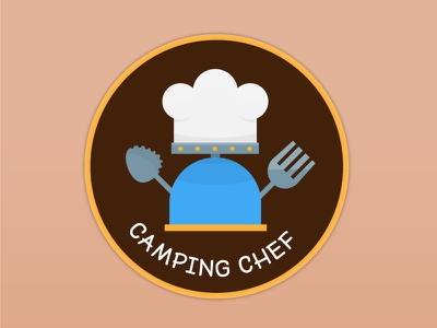 Camping Chef Patch Design vector illustration vector food cooking chef camping stove outdoor patch patchgame nature hiking hiker