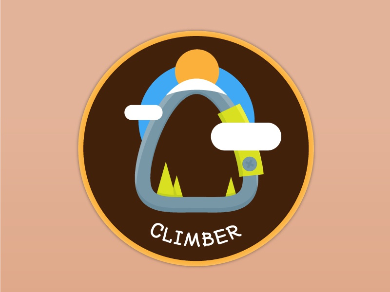 Climber Patch Design outdoor nature climbing climber patchgame patch vector illustration