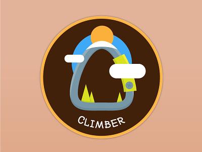 Climber Patch Design outdoor nature climbing climber patchgame patch vector illustration