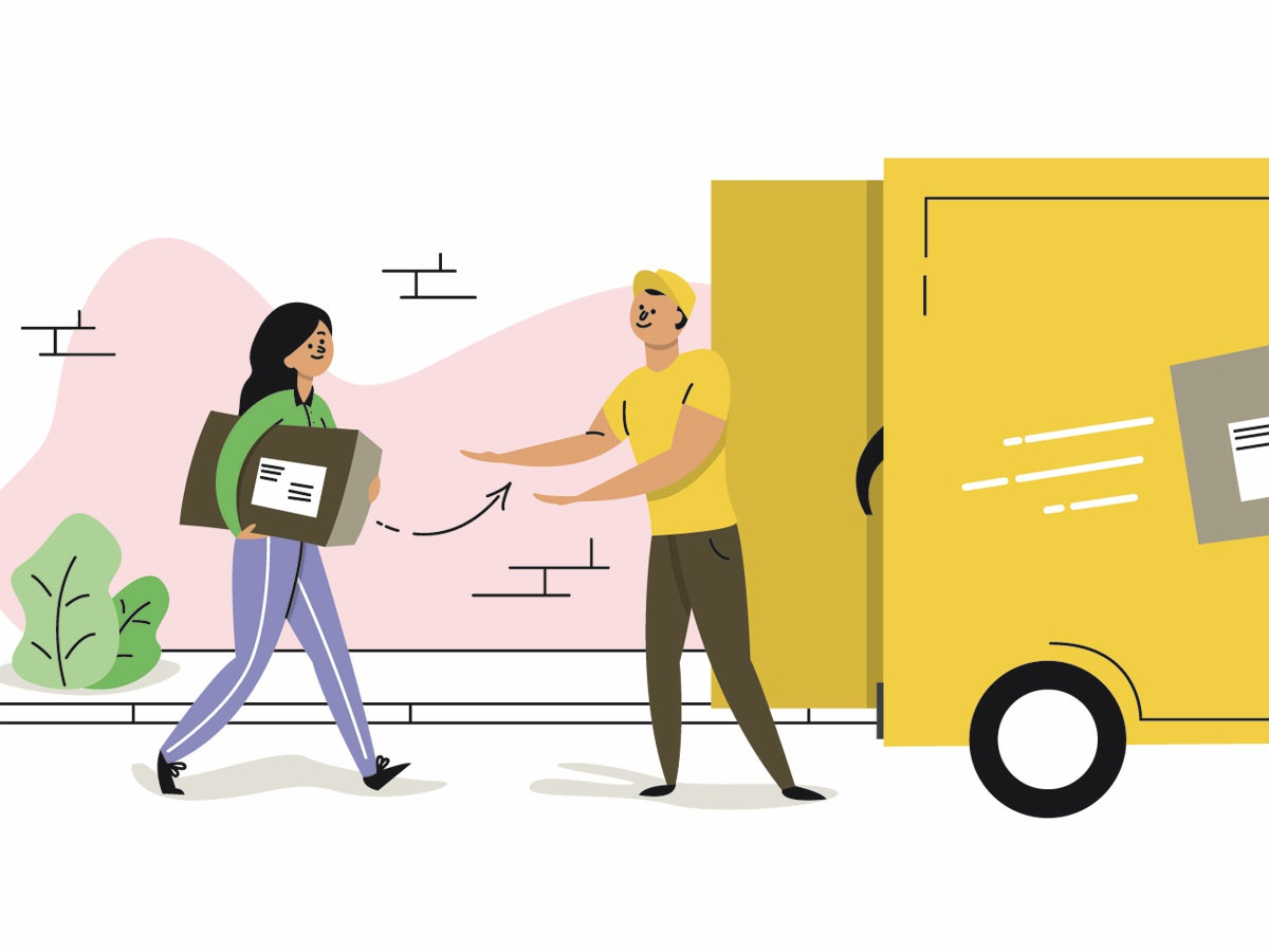 Bring your package to the post office walking woman illustration colorful editorial illustration yellow post office man woman flat design adobe illustrator vector