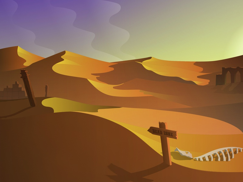 Day 12 | Desert Scene | 100 days design challenge day ruins desert 100 days challenge illustrator vector illustration