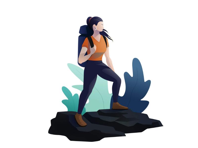 Hiker Girl photoshop gradients 100daysdesignchallenge minimal girl hiker illustration