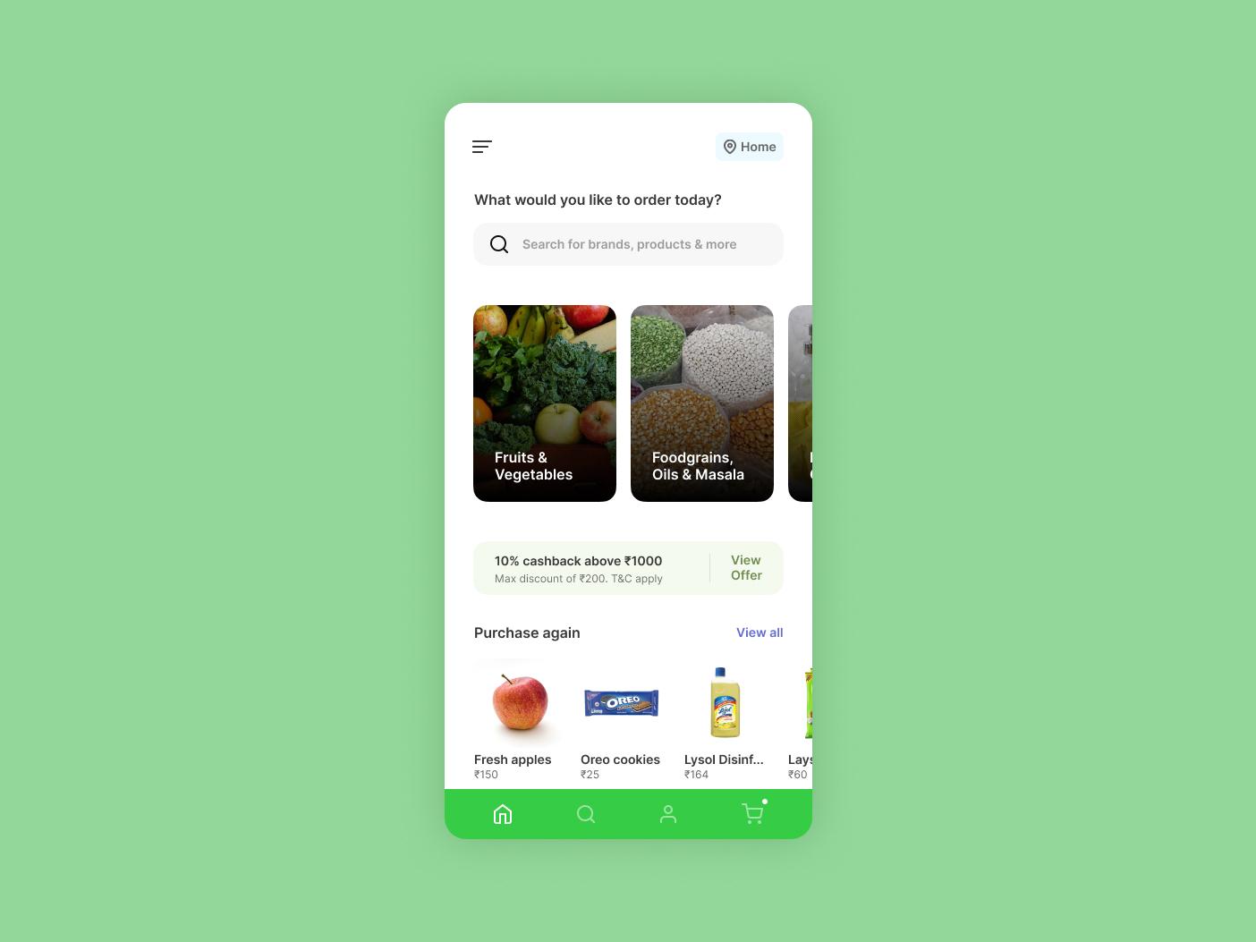 Grocery Storefront ui design mobile ui mobile app ux ui storefront grocery minimal green