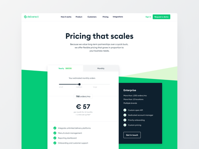 Deliverect - Pricing slider pricing table pricing plans pricing page pricing branding ui visual ux design