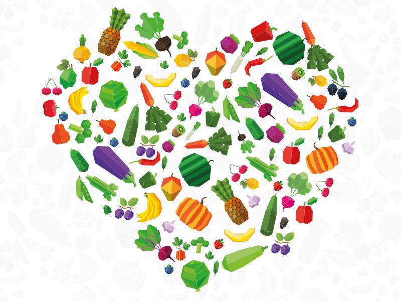 Love fruit & veg heart fruit illustrator photoshop