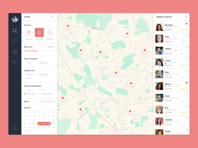 DogBuddy map ui search results pet makeitbetter list interface dog design