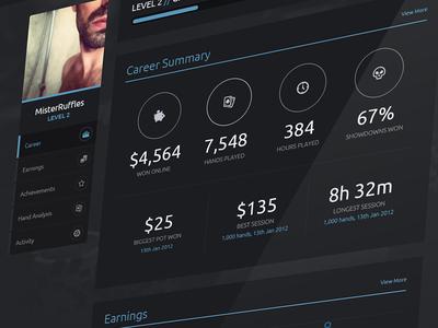 Poker Dashboard poker stats profile statistics dashboard ui ux nav circles icons dark blue analytics interface app web app web design