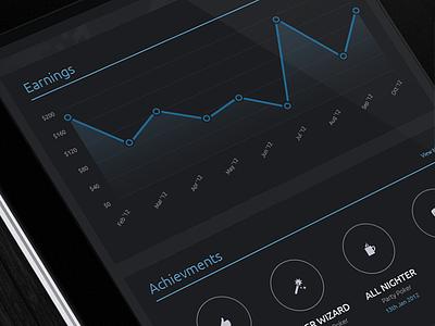 Poker Earnings web design web app app interface analytics blue dark icons circles ux ui dashboard statistics stats poker graph