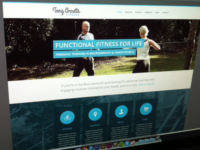 Fitness Redesign website web design brochure site icons sosa open sans circles buckets logo blue