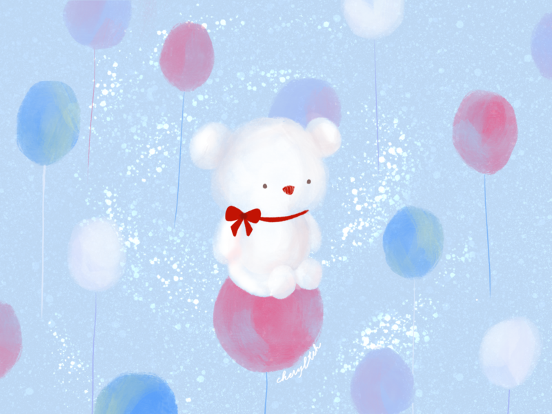 Dreaming on balloon clouds teddy bear cute art teddy bear balloon cute illustration design