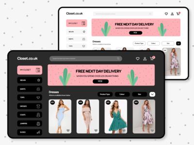 Fashion Web App | Closet.co.uk in Dark Mode
