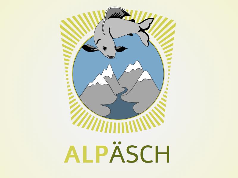 Alpäsch - Logo logo Äschen alpen fish logo green logo blue logo natural logo