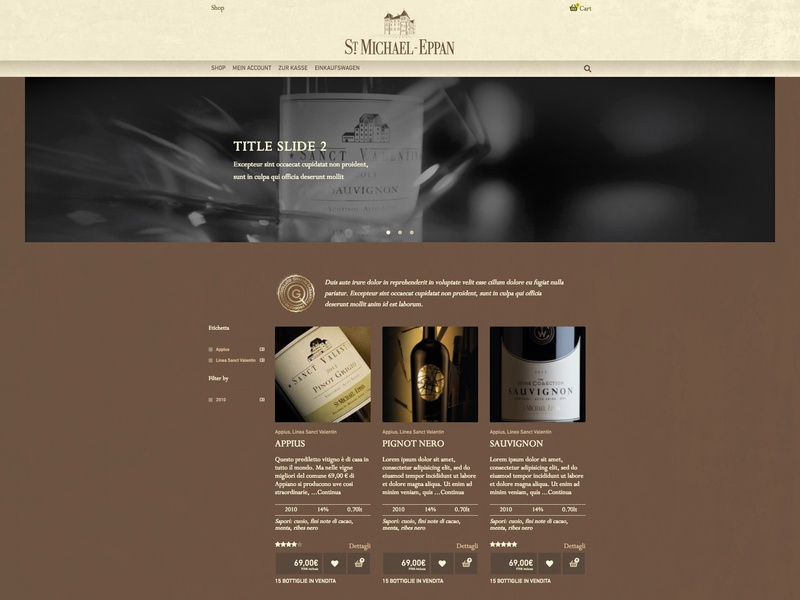 St. Michael Winery ui responsive design woocommerce developement e-commerce wip