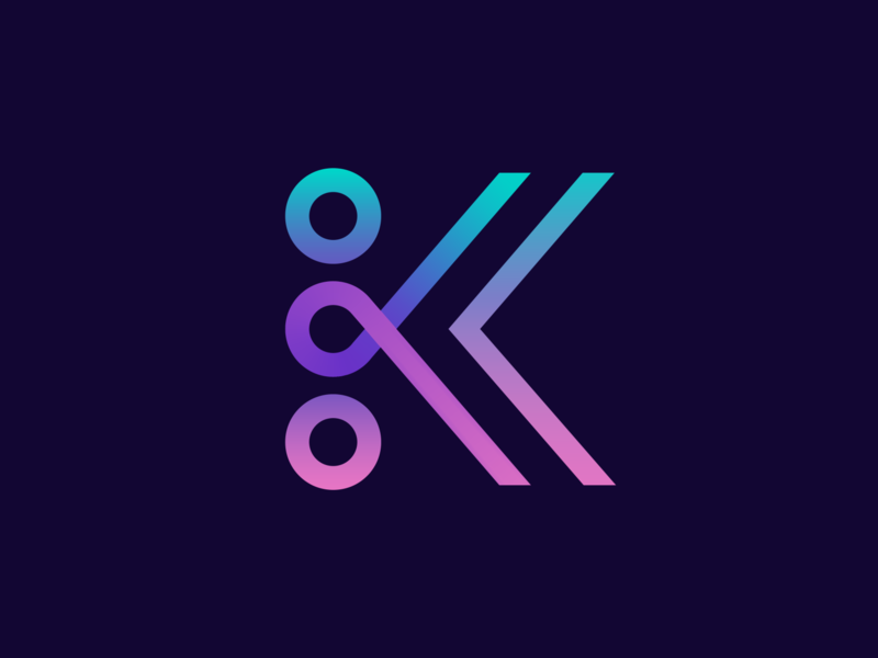 K monogram brands team collaboration line brand branding carazan vadim transaction circle arrow back gradient connection dynamic branding logo