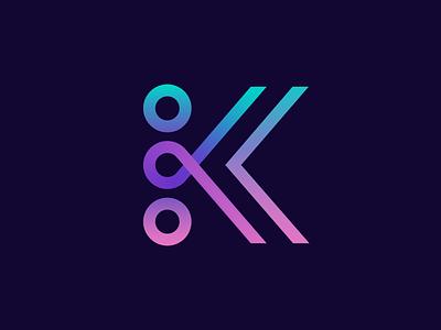 K monogram brands team collaboration line brand branding carazan vadim transaction circle arrow back gradient connection dynamic branding logo