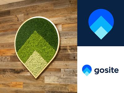 Gosite logo design brand growth real life 3d branding design pin arrow logo