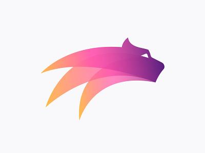 Firy puma  logo design for Forsage speed gradient fire eye animal cat dynamic dynamicity branding logo