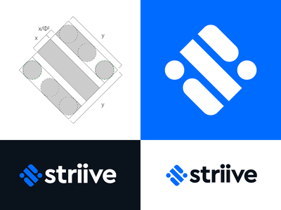 Striive logo design strive golden ratio management manager square i dot lines text s monogram lettering branding logo