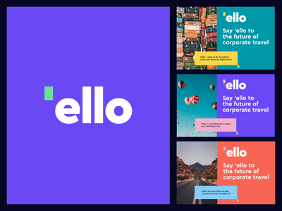 Ello logo and poster design / Brandbook automation  communication app icon chat bot wordmark hello business travelling cities booking travel corporate branding logo