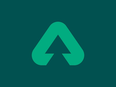 """A"" fir tree logo for Atlas Forest negative space triangle logo timber wood tree fir mark icon a"