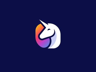 Unicorn logo horse animal illustration mythology magical corn unicorn magic legendary brand branding identity colorful colors gradient logo mark icon