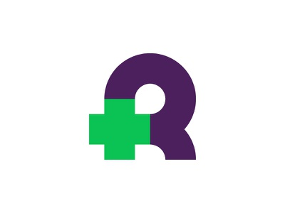R medical logo icon mark health care cross medical medicine doctors clinic healthcare caring lettering monogram bold r logo letter
