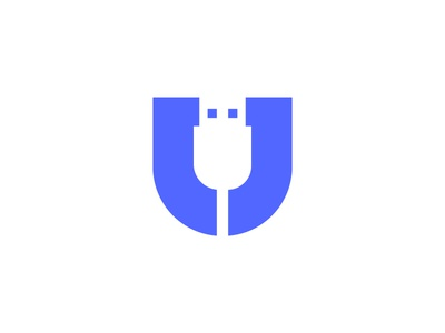 U for USB | U+USB logo tech mark symbol hdmi tech icon connection data information brand branding identity negative space technology tv mobile usb cable cables u letter lettering
