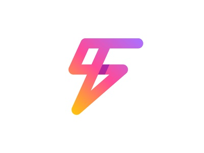 F+BOLT LOGO  lighting dynamic dinamicity selling light fitness clothing web energy sport gradient lettering logo iconic symbol bolt letter f monogram icon