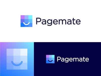 Logo proposal for Pagemate | Web hosting and maintenance company layers data positive creative human emotion emoticon emoji pages website minimalistic digital technology gradient trustworthy trust pixels friendly smile happy host webhosting friend page mate pagemate