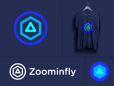 Logo for Zoominfly (wip) | Drone racing park entertainment park obstacles fpv virtual virtuality recreation zooming drones abstract abstraction motion tech race power glowing hypnotise hypnosis future futuristic neon fast quick technology circle hexagon triangle geometry geometric shape drone fly zoom
