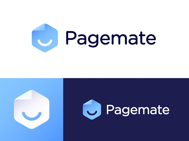 Logo proposal for Pagemate | Web hosting and maintenance company trustworthy trust geometry geometric boy face corner person dude flip paper happiness fold folded hexagon positive creative human emotion emoticon emoji pages website minimalistic digital technology gradient friendly smile happy host webhosting friend page mate pagemate