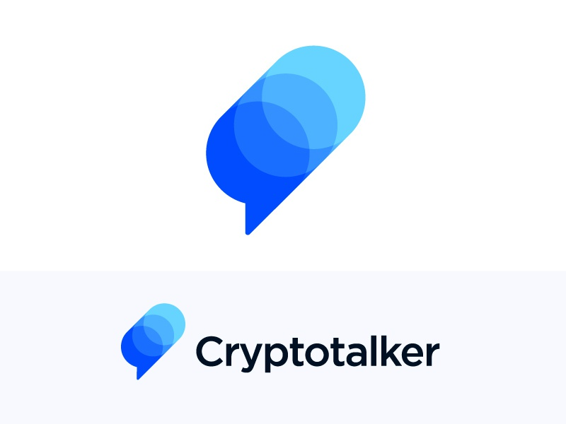 Logo concept for cryptocurrency platform chart fintech blockchain bank bitcoin news portal multiple virtual branding technology money mark icon brand cryptocurrencies coin coins info information currency financial investment trading growth stats finance bubble text message chat platform talker crypto talk social