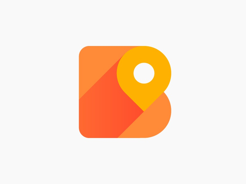B + pin logo concept for all-in-one ride hailing app (unused) for sale car taxi cab negative space minimalistic map local lettering moving icon ride brand energy dynamic app icon mark drive cab auto location shadow fast b monogram letter