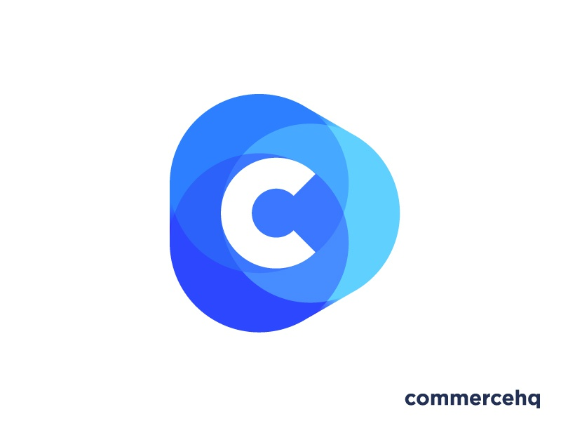 Logo concept for all-in-one ecommerce software (sold) for sale play triangle circle app letter growth progress trustworthy marketing shopping shop transparency trust money market place marketplace monogram icon mark c commerce e-commerce