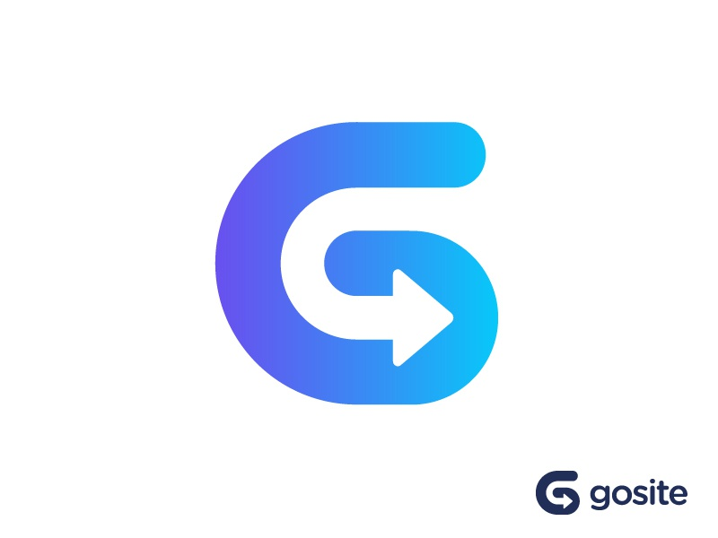 G + Arrow logo concept for business software moving motion dynamic help human friendly technology future digital help go service customer client business growth payment booking app software grow powerful bold orientation marketing management power monogram forward moving