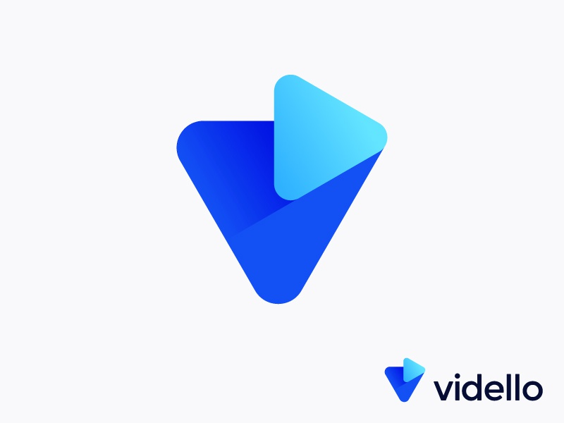 V + Play logo concept for video marketing app trustworthy 3d future futuristic vidello icon help evolution monogram brand branding entertainment promotion music mark button evolution leader fresh shadow platform fly application online business videos brand branding hosting growth modern icon