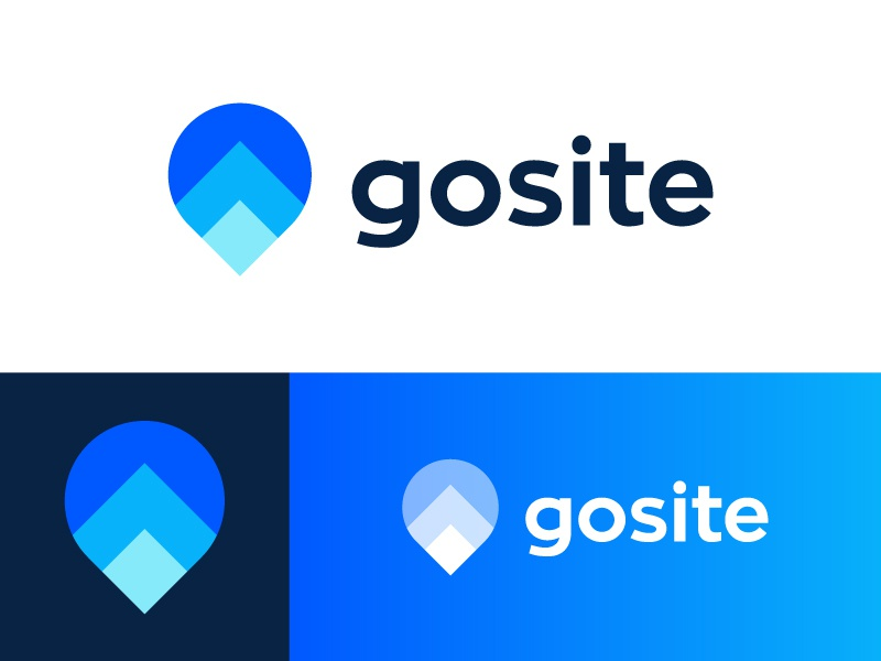 Logo redesign for local business software | Gosite location leader manager brand branding arrows evolution icon mark technology crm app customer booking payments digital marketing management growth go up pin arrow grow