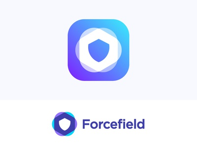 Logo concept for VPN service box hex secure force cloud phone pc help futuristic virtual geometric information info software negative space technology icon mark hexagon private barrier app futurism plasma privacy forcefield protective shield protection infosec security