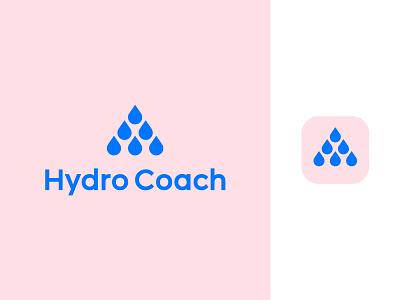 Hydro Coach logo design | Hydration app evolution sport fitness arrow pyramid progress golden ratio hydration app icon mark health lifestyle life increasing drink learn coaching reminder motivation drops drop water