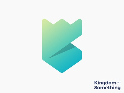 Kingdom of Something logo concept monogram creative art ribbon crest lines illustration kk  badge production creative animation king studio design security royal royalty growth secure medieval mark brand icon crown k shield tower castle bulding