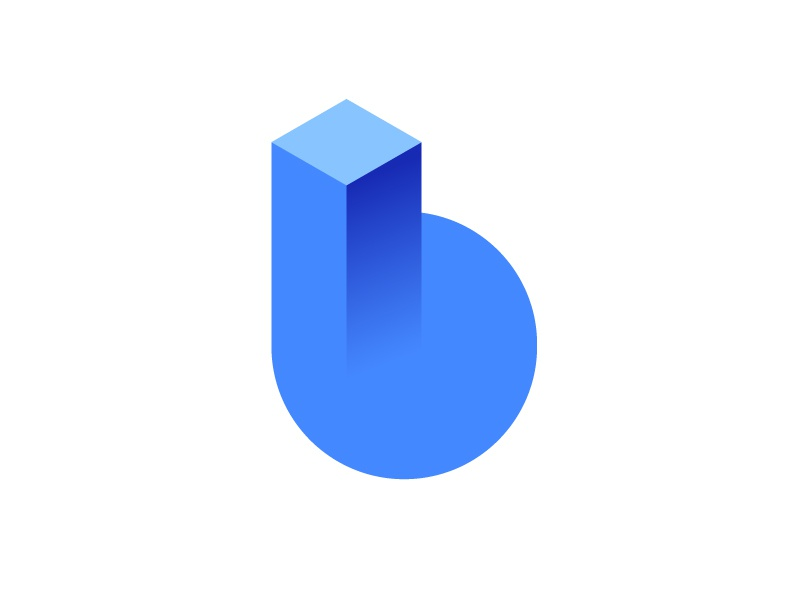 b for building logo concept marketing hexagon contractor contracting rise 3d circle network brand branding monogram gradient icon mark growth hexagon cube build construction high-rise b geometry geometric