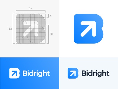 Logo concept for construction bidding platform ( for sale ) search all-in-one contractor branding contracting contract brand connect job find space grid network right up negative mark wordmark growth arrow letter icon bid b monogram