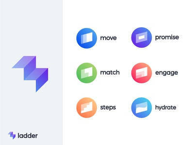Icons for Ladder | Fitness caching app l negative space ladder fitness progress wellness growth success leader sport dynamic symbol mark brand fly up marketing letter lettering 3d stair stairs step level levels steps monogram growth sportive arrow arrows fit health coach
