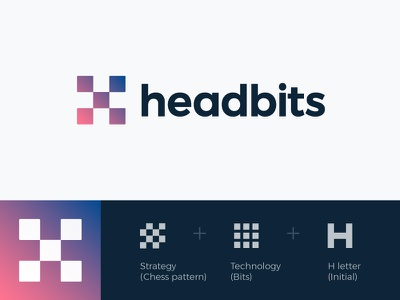 Logo concept for Headbits (wip) monogram icon wordmark pixel gradient mark square software strategy technology monogram lettering consulting chess pattern letter h head bits